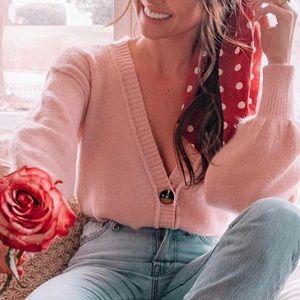 Topshop Pink Cropped Cardigan size 4